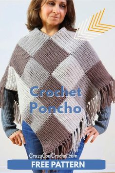 FREE PATTERN and VIDEO for this crazy cool crochet poncho made of color blocks! #crochetponcho #easycrochetponcho #freecrochetpatterns #crochetponchopattern #crochetponchopatternfree #crochetshawl #crochetfreepatterns #crazycoolcrochet