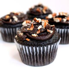 Cupcake Recipes : Chocolate Cupcakes with Peanut Butter Filling, Whipped Chocolate Ganache, and Crushed Pretzel
