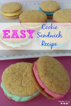 Looking for an easy treat recipe? Then check out this  Cookie Sandwich Recipe from Cake Mix. It is so easy to make and you can change the food coloring to fit any holiday. You could tint the cookie sandwich filling red and green for Christmas. In my pictures, the filling is tinted in fun spring colors for Easter or for any Spring celebration. You could tint the icing red for Valentine's day too. The options are only limited by your filling color choices.