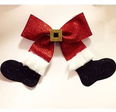 Santa Claus Christmas red white and black cheer bow hair bow EverAfterFairytales - Crafting For Holidays