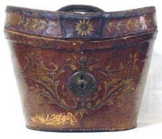 Hat Box. Leather with Gilt Decorations and Metal Lock. Circa 19th Century.