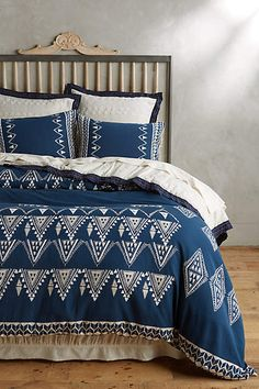 NEW Anthropologie Beautiful Abstract Navy Blue King Ebisu Duvet Sold Out #Anthropologie