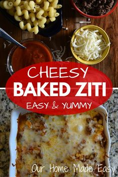 Easy Baked Ziti for a family dinner! It's super cheesy and kid approved! Pork Recipes For Dinner, Italian Dinner Recipes, Lunch Recipes, Top Recipes, Amazing Recipes, Dessert Recipes, Easy Family Meals, Easy Meals, Beef Casserole Recipes