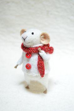 CHRISTMAS MOUSE  unique  needle felted ornament by feltingdreams