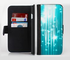 The Bright Blue Glistening Streaks Ink-Fuzed Leather Folding Wallet Credit-Card Case for the Apple iPhone 6/6s, 6/6s Plus, 5/5s and 5c from DesignSkinz