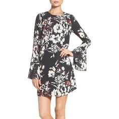 Women's Ali & Jay Bell Sleeve Floral Sheath Dress (€115) ❤ liked on Polyvore featuring dresses, burgundy, flower printed dress, flower print dress, flower pattern dress, sheath dress and floral day dress