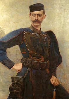 Portrait of Pavlos Melas by Georgios Jakobides (Greek 1853-1932).....Pavlos Melas (1870–1904) was an officer of the Hellenic Army, and was among the first to organise and participate in the Greek Struggle for Macedonia. On October 13, 1904 he was killed after being surrounded by Ottoman forces in the village of Statista, which was renamed Melas in his honour.....