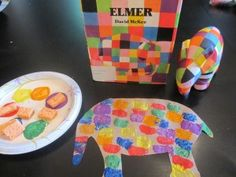 A simple and colorful spong paint elmer craft