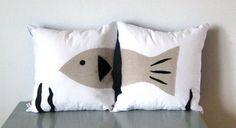fish pillow lake house decor cabin decorative pillows boys bedroom SET Ready To Ship. $58.00, via Etsy.