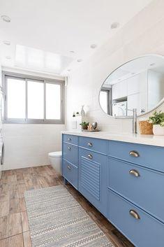 Kids bathroom with light blue cabinet Blue Cabinets, Double Vanity, Bathroom, English Vocabulary, Light Blue, Design, Kids, Washroom, Young Children