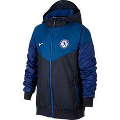 Buy the Kids Nike Chelsea Windrunner Jacket from SoccerPro Chelsea Soccer, Chelsea Fc, Football Jackets, Football Outfits, Nike Jacket, Rain Jacket, Windrunner Jacket, Windbreaker, Youth
