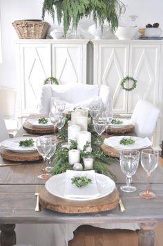 A rustic Christmas table setting