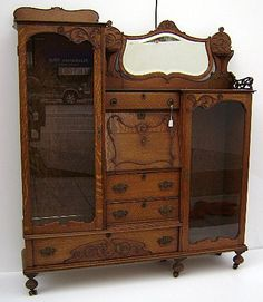 Victorian (or art nouveau?) oak double secretary
