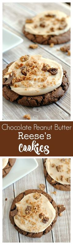 Soft and Chewy Chocolate Peanut Butter Reese's Cookies (Chocolate Cookie Recipes Sweet Treats) Reese's Cookies, Crinkle Cookies, Yummy Cookies, Yummy Treats, Sweet Treats, Cookies Soft, Cookie Desserts, Just Desserts, Cookie Recipes