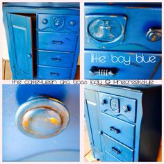 Little Boy Blue...1940's furniture redo! At The CattleQueen aka Boss Lady FaceBook page