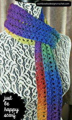 Free crochet pattern! The Just Be Happy Scarf! The perfect lacy fall scarf.