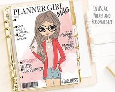 Printable Planner Girl Cover Magazine Dashboard, Fashion Print Planner Cover, A5 A4 Pocket Personal Planner Inserts, Cover, Agenda Insert