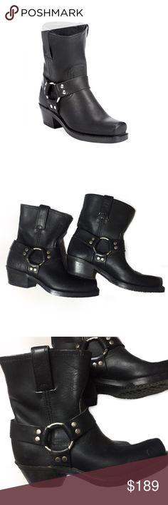"""Vintage Frye Womens Harness Boots PRODUCT DESCRIPTION ▪️The Frye Company ▪️Color: Black ▪️Rugged Italian Leather ▪️Strong rubber outsole ▪️Goodyear welt construction ▪️14"""" shaft circumference ▪️8"""" shaft height  ▪️1.75"""" heel  ▪️Stacked leather heel ▪️Made in the USA 🇺🇸   ▪️Boots have minor frontal wear, scuffs and peeling in front of boot (adds character!) ❤️ ▪️(Please see pics and ask any questions before purchasing.) ▪️ Fits tight for a 6 1/2. Would be very snug. *Would fit a size 6…"""