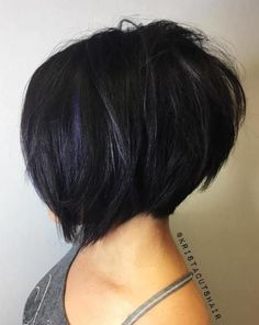 Textured Black Bob With Blue Babylights #WomenHairstyles