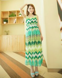Korean Dress Green Korean Fashion Dress, Korean Dress, Fashion Dresses, Sammy Dress, Bohemian Style, Summer Dresses, Scoop Neck, Colorful, Clothes