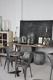 so drawn to the simple chalk paint look with glass, greys, wood..