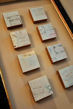 Or try something similar with old passport stamps: | 20 Ways To Display Keepsakes From Your Travels And Trips
