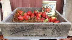 Personalized Wooden Strawberry Crate, pallet board, laser engraved, handmade gift, fruit crate.  This crate can be personalized with your name and location. $25.00 through SpiffMeUp on etsy