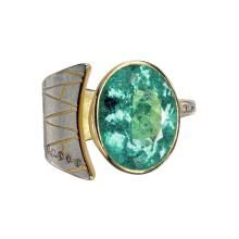Paraiba tourmaline, champagne diamonds, 18k gold and platinum ring.  Atelier Zobel for #SzorCollections