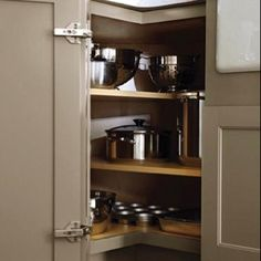 Beautiful Alternative Kitchen Corner Cabinet Kitchens - Hard to tell, but the shelves are alternated to allow for taller items at the outsides.