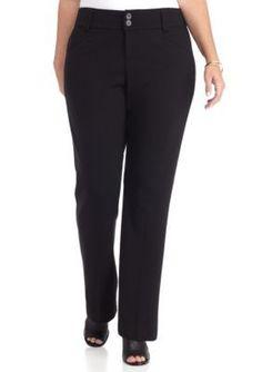 New Directions Black Plus Size Button Zip Front Pants