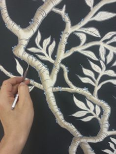 Detail of Chinoiserie I painted for designer Amy Hirsch