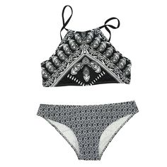 Women's Fashion Feather Printed Black Tank Padding Bikini Bathing Suit Swimsuit
