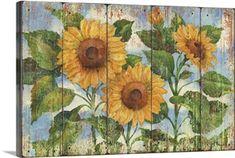 Garden Fence Art, Garden Mural, Décoration Harry Potter, Sunflower Canvas, Sunflower Wall Decor, Sunflower Crafts, Mural Painting, Fence Painting, Chair Painting