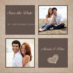 Moderne Save-the-Date Einladungskarte mit quadratischen Bilderrahmen und farbigen Flächen. #Hochzeitspapeterie #einladungskarten #savethedate