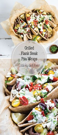 Grilled flank steak pita wraps are the perfect summer dinner recipe! They are loaded with fresh veggies and topped with a homemade Greek yogurt sauce!