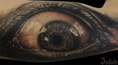 You can see the horror in this eyeball by Anam Q #InkedMagazine #eye #tattoo #tattoos #Inked #Ink #art #Blackandgrey