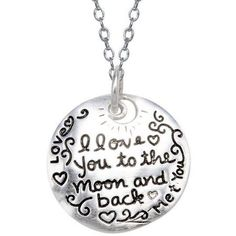 """""""I Love You to the Moon"""" Sterling Silver Pendant"""