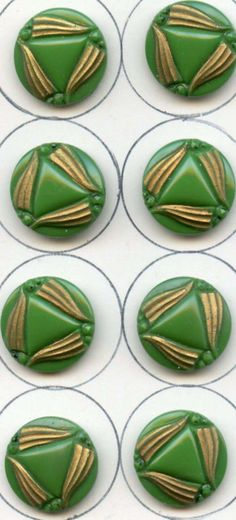 8 vintage deco green glass buttons