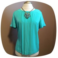 Beautiful Green - Pleated Front - Back Zipper  100% Polyester - Back Zipper  Seafoam Green  EUC - Very Little or No Signs of Wear  Additional Photos or Measurements Available on Request  Ask Questions Before Purchase  Five Star Rating  Ships Next Business Day Liz Claiborne Tops Blouses