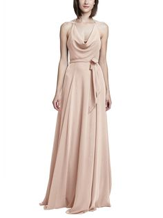 Take a look at this gorgeous Amsale Daryn bridesmaid dress in blush fabric! Available in sizes and tons of colors at Brideside. Shop online, try at home or visit one of our showrooms! Summer Wedding Gowns, Elegant Wedding Gowns, Luxury Wedding Dress, Wedding Dresses, Gown Drawing, Dusty Rose Bridesmaid Dresses, Tea Length Dresses, Fashion Dresses, Palette