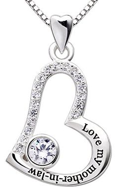 "ALOV Jewelry Sterling Silver ""Love my mother-in-law"" Love Heart Pendant Necklace >>> Read more reviews of the product by visiting the link on the image."