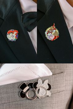 Each groomsmen chose their favorite Disney couple, while the groom chose a classic bride and groom pin.