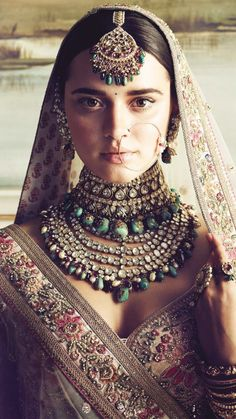 What's better than being a Sabyasachi bride and donning one of his creations for your big day? Topping it up with a bridal jewellery set from the grand master to go along with it. We delve into the Sabyasachi jewellery collection. Indian Dresses, Indian Outfits, Bollywood, Sari, Silk Lehenga, Sabyasachi Sarees, Floral Lehenga, Sabyasachi Bride, Indian Wedding Jewelry