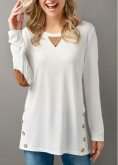 Long Sleeve Button Embellished Elbow Patch T Shirt