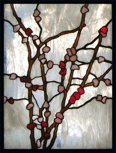 Cherry Blossoms stained glass panel