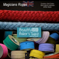 Soft  COTTON MAGICIANS ROPE in over 30 colours - not just for magicians ! http://www.rope-source.co.uk/categories.php?cat=Magicians+Ropes