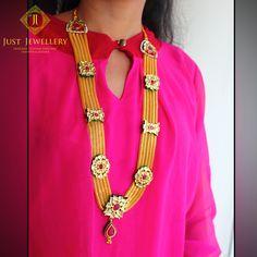 A graceful and elegant gold look necklace !!#mondaymotivation #jewelsoftheday #jewellerydesign #goldglitter #rubyred #grace #elegance #evergreen #justjewellery #mahalaxmi #Mumbai