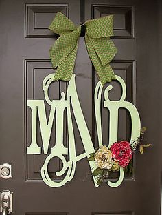 Wooden MONOGRAM door hanger/wreath/Custom Initial/burlap bow/decor/green/pink