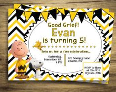 Charlie Brown Birthday Party Invitation Peanuts Movie