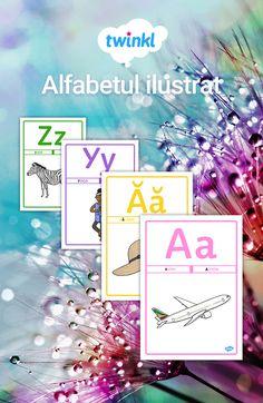 Literele de tipar ale alfabetului limbii române - A4. Planșele pot fi laminate și folosite pentru predarea literelor și pentru decorul clasei. #alfabetar #alfabetul #literedetipar #pregatitoare #prescolar Games, Plays, Gaming, Toys, Spelling, Game